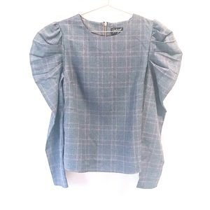 Reclaimed Vintage | Puffed sleeve plaid Fall top M
